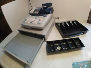 Casio Te 2400 Cash Register With Keys And Drawer Inserts Works Great