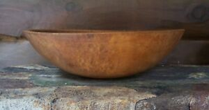 Antique Out Of Round Primitive Treen Wooden Dough Bowl Maple Burl Aafa