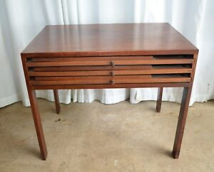 Mid Century Modern Danish Walnut Side Table With Three Folding Nesting Tables