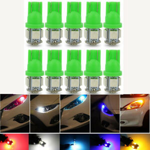 10x Green 5 Led Smd Per Bulb 12v Dc Car Light Replacement 194 T10 T5 Wedge Base
