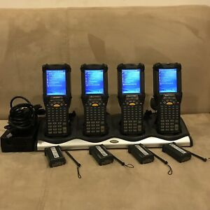 Lot Of 4 Symbol Motorola Mc9090 gf0hjefa6wr Windows Barcode Scanner W Extras