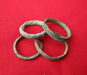 Ancient Roman Wedding Ring S Lot With 4 Pieces Bronze No 22