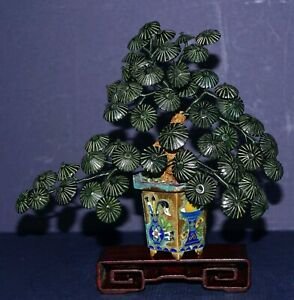Old Item Spinach Jade Jade Tree Gold Gilt Champleve Base Rosewood Stand