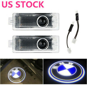 2x Car Door Led Laser Logo Projector Shadow Lights Ground Lamp For Bmw 3 5 6 7 X