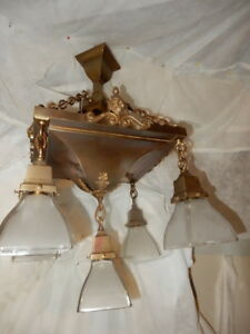 Mission Arts Crafts Brass Pendant Light Fixture Chandelier W Frosted Shades