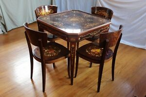 Vintage Italian Game Table Chairs Roulette Backgammon Chess Marquetry