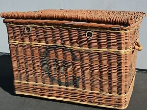 Antique French Wicker Rattan Steamer Trunk Cunard Ship Travel Chest 19th C 1900s
