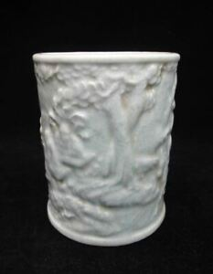 Very Rare Old Chinese White Glaze Porcelain Carving Brush Pot Pen Container Mark