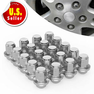 24 Chrome 14x1 5 Stainless Steel Capped Lug Nut For Chevy Silverado Gmc Sierra