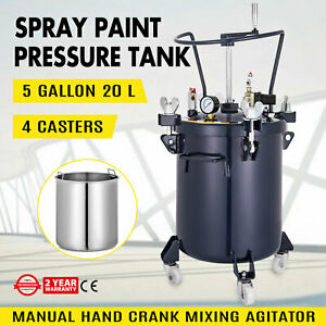 5 Gallon 20l Spray Paint Pressure Pot Tank Commercial 4 Casters Mixing Agitator