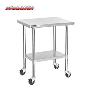 Durasteel Stainless Steel Work Table 24 X 30 X 34 Height W 4 Caster Wheels