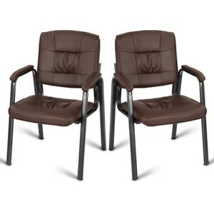 2pcs Pu Conference Chair Reception Guest Armchair Living Room Office Furniture