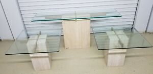 Artedi Italian Beveled Glass Top And Marble Base Coffee Tables Set Of 3 Mintish