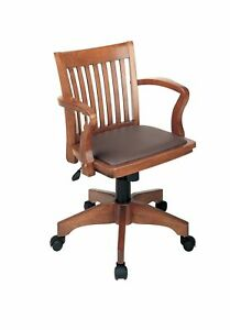 Office Star Deluxe Wood Bankers Desk Chair With Brown Vinyl Padded Seat Frui