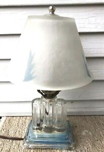 Art Deco Clear Glass Table Lamp Small Works Blue Decoration In Glass Shade