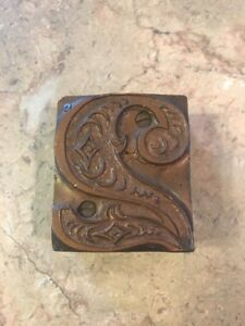 Antique Brass Wood Fancy Swirls Stamp Attached Together By Small Nails