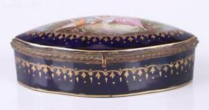 Vintage French Sevres Porcelain And Gilded Bronze Jewelry Box