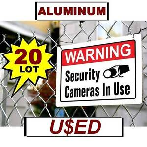 20 Used Metal 10x14 Warning Security Surveillance Cameras Are In Use Yard Signs