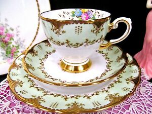 Tuscan Tea Cup And Saucer Trio Floral Gold Gilt Lime Green Teacup Painted Set