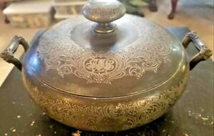 Fancy Vintage Silverplate Silver Plate Covered Footed Dish Reed