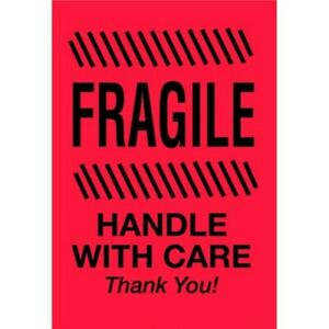 4 X 6 Fragile Handle With Care Thank You Labels 500 Per Roll