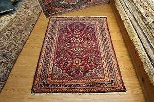 Persian Blue Sarough Design Lilihan Authentic Early 1900 Handmade Knotted Rug