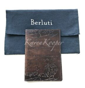 Auth Berluti Patina Scritto Venezia Leather Agenda Notebook Book Cover Organizer