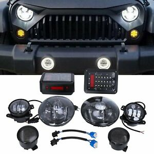 7 Led Headlight Turn Signal Fog Tail Light Lamp For 2007 2017 Jeep Wrangler Jk