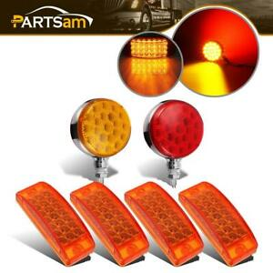 2x Amber Red Stop Tail Led 4x Clearance Side Marker Turn Signal Light Universal
