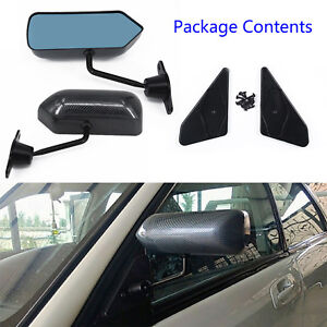Pair F1 Style Carbon Fiber Front Side Mirror Car Vehicles Racing Universal Black