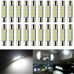 6pcs Xenon White 3smd 6641 6614f Led Bulb Sun Visor Vanity Mirror Fuse Lights