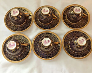 Royal Worcester Antiques Set Of Six Demitasse Espresso Coffee Cups