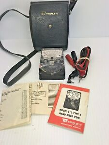 Vintage Triplett 310 Compact Analog Multimeter Type 5 Tested W case Manual Leads