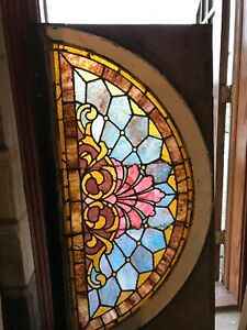 Sg 2824 Antique Stainglass Arch Top Window 30 5 X 57 5