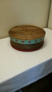 Vtg Primitive Round Hand Painted Shaker Pantry Cheese Box Wood Crafts Sewing Box