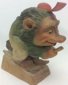 Henning Of Norway Hand Carved Wood Troll With Skis On Broom 6 5 Tall Glued Hat