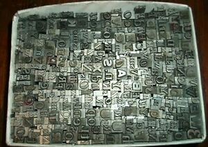 No 96 Vintage Lot Of 375 Pieces Letterpress Printers Lead Type Letters Numbers