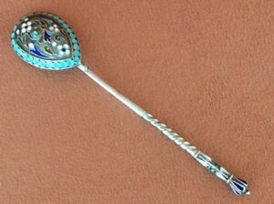 Rare Vintage Russian Imperial Silver 84 Cloisonne Enamel Spoon Antiques Russia