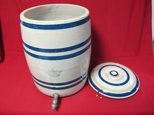 Antique Stoneware 5 Gallon Water Cooler Beer Keg Blue Stripes Blue Crown