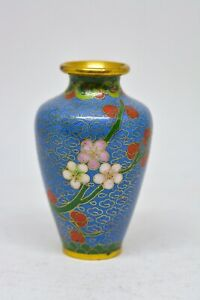 Vintage Miniature Chinese Cloisonne Vase 3 Inches Tall