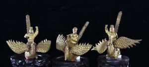 3 Antique Chinese Wood Carved Gilded Statue Figure Of Immortal On Phoenix 19th C