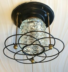 Vintage Imperialite Ceiling Light Glass Fixture Mid Century Retro Atomic Ranch
