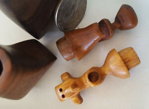 Whimsical Mid Century Modern Carved 2 Tone Wood Pair Of Figures S P 3 25 H