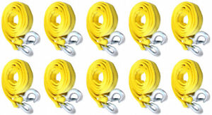 10 pack 3 Tons Car Tow Cable Towing Strap Rope With Hooks Heavy Duty 10 Ft