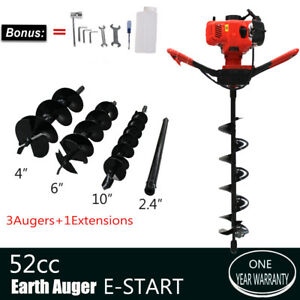 Gas Powered 52cc Earth Auger Power Engine Post Hole Diggers 4 6 10 Drill Bits