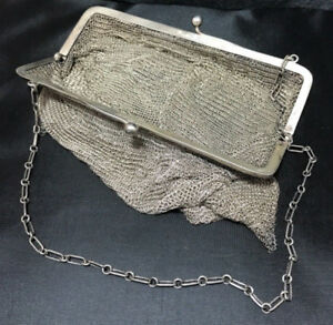 Antique R Blackinton Co Sterling Silver Mesh Purse With Chain 6067 Engraved