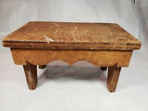 Small Vintage Bench Foot Stool Rustic Outside Primitive Vintage Milking