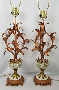 Superb Pair Of Hollywood Regency Tole Lamps