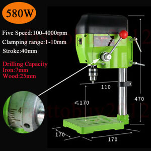 580w Precision Bench Mini Drill Press 5 Speed Wood metal Hobby Table 100 4000rpm
