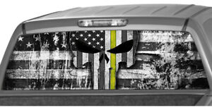 American Flag Thin Yellow Line Skull Rear Window Graphic Decal Pickup Truck